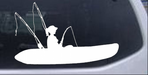 Girl kayak fishing car or truck window laptop