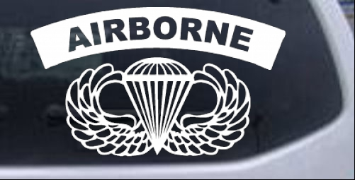 AIRBORNE Banner With Wings Car or Truck Window Laptop Decal Sticker