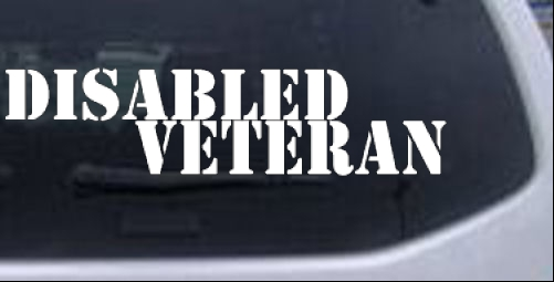 Disabled veteran car or truck window laptop decal