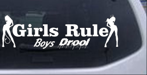 Girls rule boys drool good and bad girls car or truck window laptop decal sticker