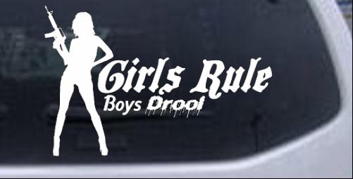 Girls Rule Boys Drool Machine Gun Girl Girlie car-window-decals-stickers
