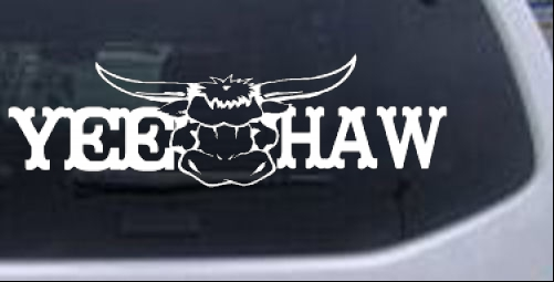 Yee Haw with Longhorn Skull Country car-window-decals-stickers