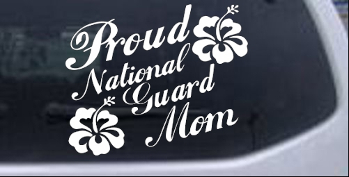 Proud Army Mom Hibiscus Flowers Car or Truck Window Decal Sticker Pink 6X6.5