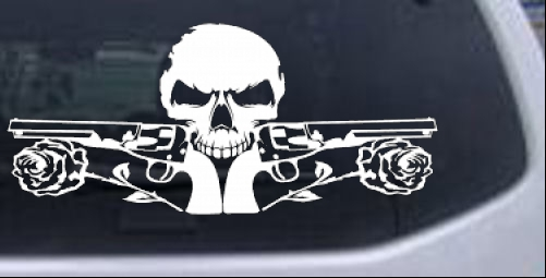 Roses Guns With Skull Biker car-window-decals-stickers
