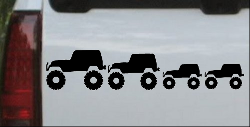 Jeep Stick Family With Two Kids