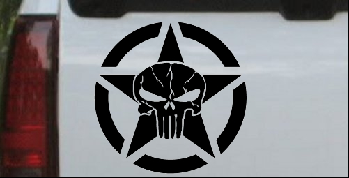 chrysler badge vinyl decal window or bumper sticker embem star pentogram