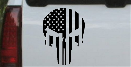 Punisher Skull With US Flag Vertical