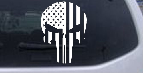 Punisher Skull With Us Flag Vertical Car Or Truck Window