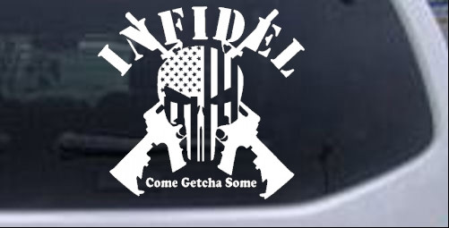 Infidel Punisher American Flag AR 15 Military car-window-decals-stickers