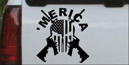MERICA Punisher Skull Flag Crossed AR15
