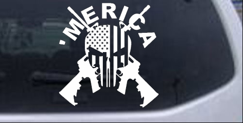 Merica punisher skull with u s flag crossed ar15 car or truck window laptop decal sticker