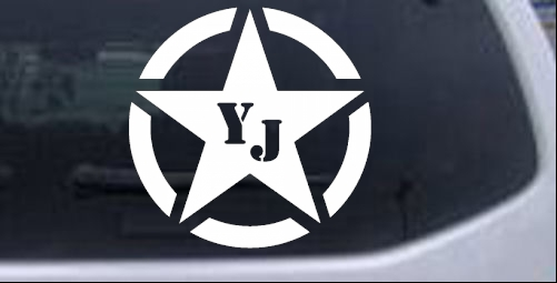 Military Jeep YJ Segmented Star Off Road car-window-decals-stickers