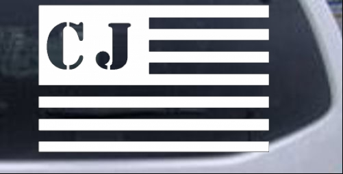 Jeep CJ in American USA Flag Right Off Road car-window-decals-stickers
