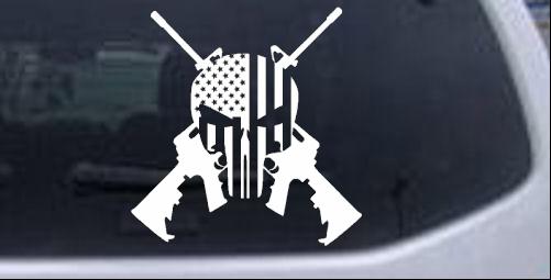Punisher American Flag Crossed AR15 Guns Guns car-window-decals-stickers