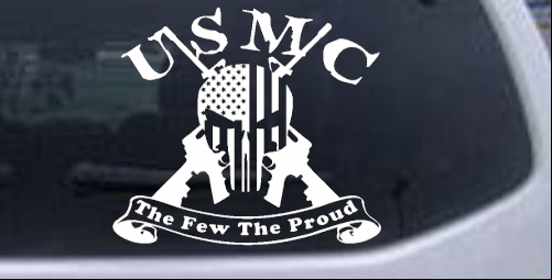 USMC United States Marine Corps The Few The Proud Punisher Skull US Flag Crossed AR15 Guns Military car-window-decals-stickers
