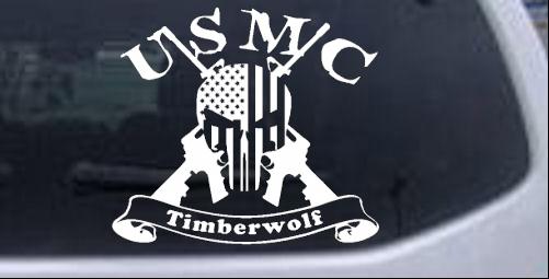 Usmc United States Marine Corps Timberwolf Punisher Skull Us Flag