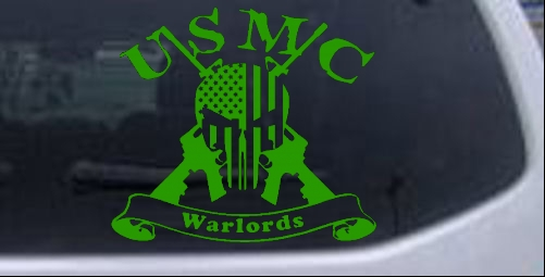 USMC Marine Corps Warlords Punisher US Flag AR15 Car Truck Window ...