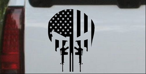 Punisher Skull American Flag Vertical AR15 AR 15 Teeth