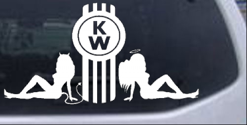 Kenworth kw with sexy mudflap angel and devil good and bad girls car or truck window laptop decal sticker