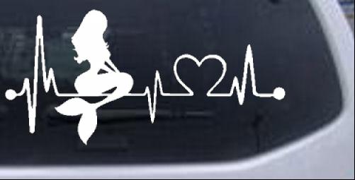 Little Mermaid Heartbeat Lifeline Monitor Girlie car-window-decals-stickers