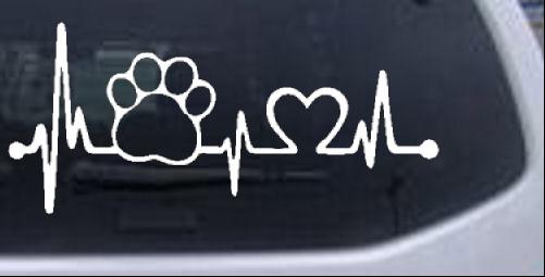 Pet Paw Heartbeat Lifeline Dog Animals car-window-decals-stickers