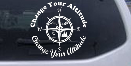 Change your Altitude Change your Attitude Mountains Ocean Palm Trees  Country car-window-decals-stickers