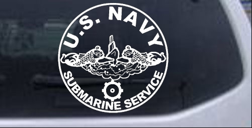 US Navy Submarine Service Dolphins with the Engineman Insignia symbol Military car-window-decals-stickers