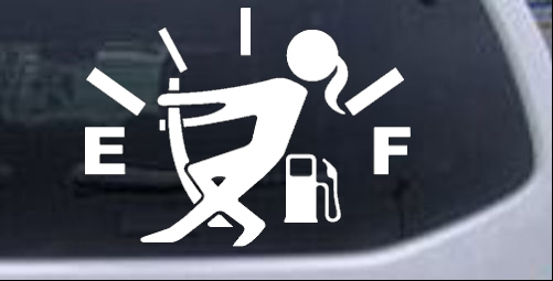 Funny Gas Gauge Empty Full Female Girl Woman Girlie car-window-decals-stickers