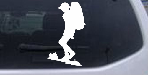 Hiker With Backpack Hiking Hunting And Fishing car-window-decals-stickers
