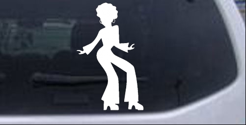 Disco Woman with a Fro Girlie car-window-decals-stickers