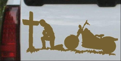 Biker Kneeling At The Cross Car or Truck Window Laptop Decal Sticker