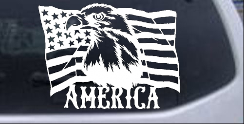 Bald Eagle Over The American Flag Patriotic car-window-decals-stickers
