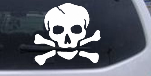 Skull and cross bones car or truck window decal sticker