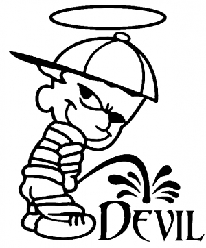 Pee On Devil Christian car-window-decals-stickers