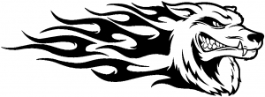 Wolf With Tribal Flames Animals car-window-decals-stickers
