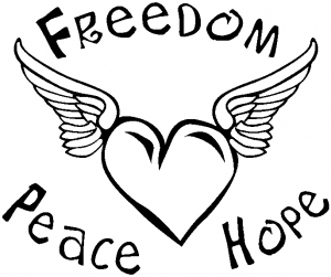 Freedom Peace Hope Heart With Wings