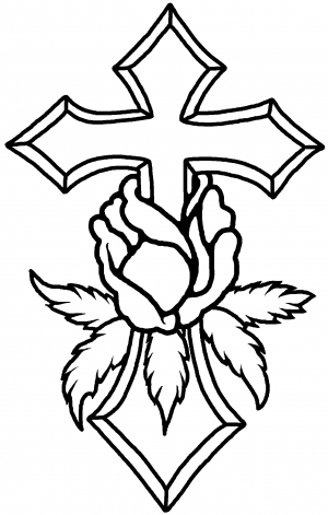 Cross With Rose Decal Car or Truck Window Decal Sticker  Rad Dezigns