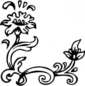 Flower Vine Corner Swirl Wall Decal