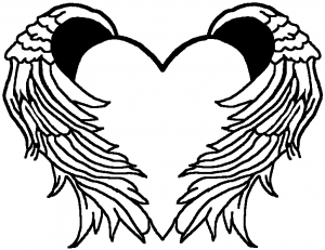 heart coloring pages with wings - heart with wings decal car or truck window decal sticker