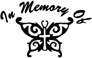 In Memory Of Cross Butterfly Decal