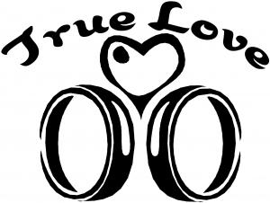 True Love Wedding Rings Heart Decal Girlie car-window-decals-stickers
