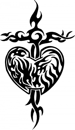 Tribal Heart and Cross Decal Tribal car-window-decals-stickers