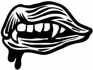 Vampire Mouth Fangs Lips Decal