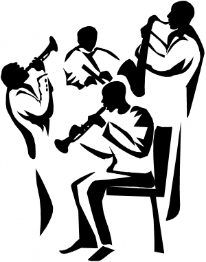 Band Playing Line Art Decal Music car-window-decals-stickers