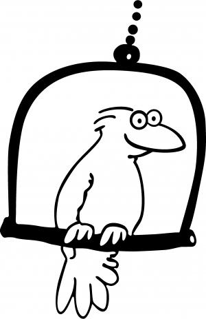 Cute Bird On Swing Decal Animals car-window-decals-stickers