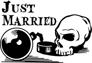 Just Married Ball And Chain Skull Decal Car Or Truck Window Decal - Skull decals for trucks