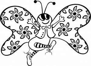 Cute Butterfly with Flowers Decal