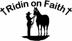 Ridin on Faith Cowgirl and Horse Christian car-window-decals-stickers