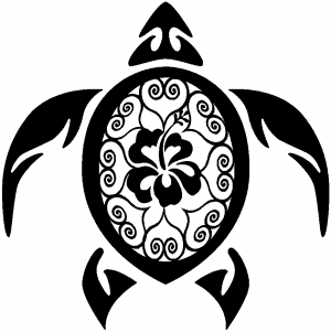 Sea Turtle Swirl Hearts Hibiscus Flower Animals car-window-decals-stickers