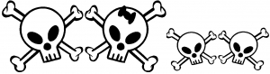 Cute Skull with two Sons Stick Family car-window-decals-stickers